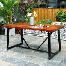 F40863A-1 Home casual outdoor furniture wrought iron legs solid wood dining table