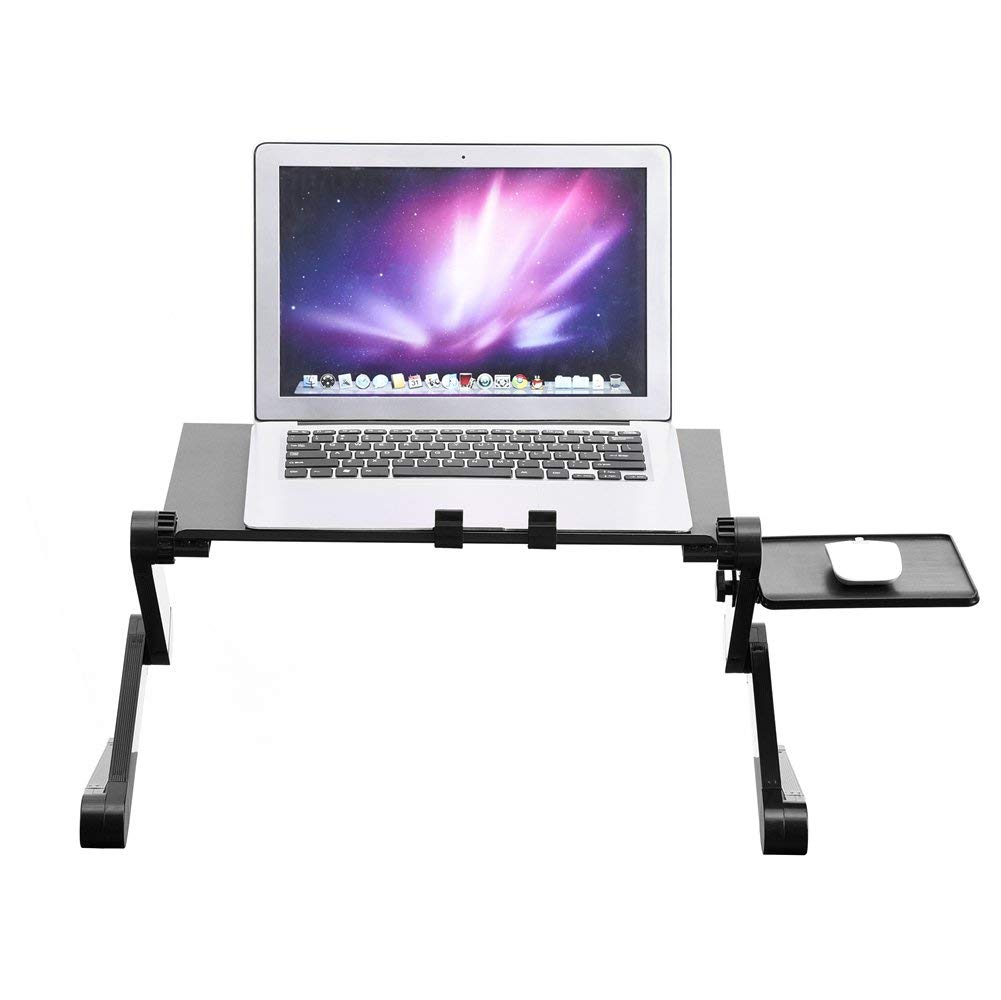 Laptop Desk Table,360 Degree Adjustable Legs Foldable PC Lap Desk Stand Holder w/ Cooling Dual Fan Mouse Boad(Black)