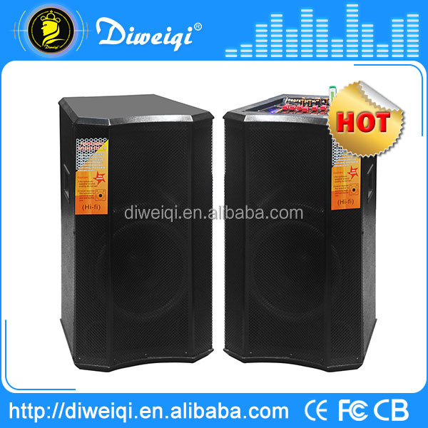 2.0 outdoor dj speakers box sets With USB/SD/FM/ MIXER /with 1pcs wireless MICs