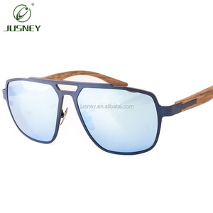 2019 fashion light weight luxury titanium alloy mixed natural wood sunglasses mirror UV400 lenses glasses for youngth