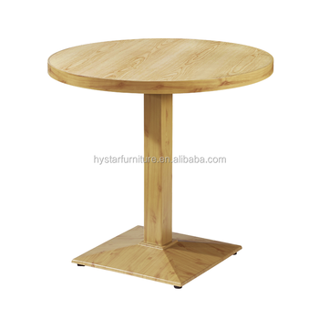 Trendy Commercial Furniture Restaurant Coffee Shop Wood Cafe Tables With Single  Leg