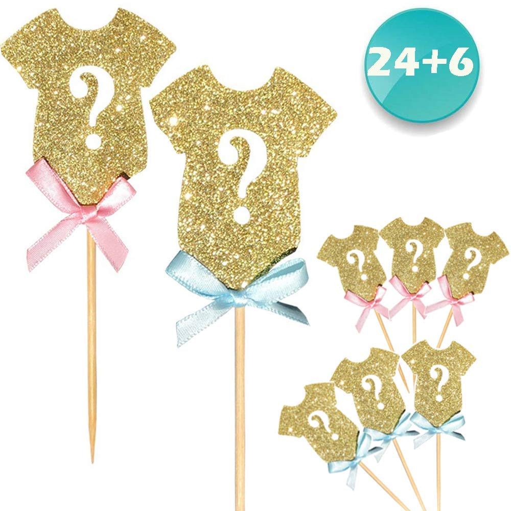 24-pack Glitter Gender Reveal Cupcake Toppers, Gender Reveal Baby Shower Party Cake Food Decoration Supplies