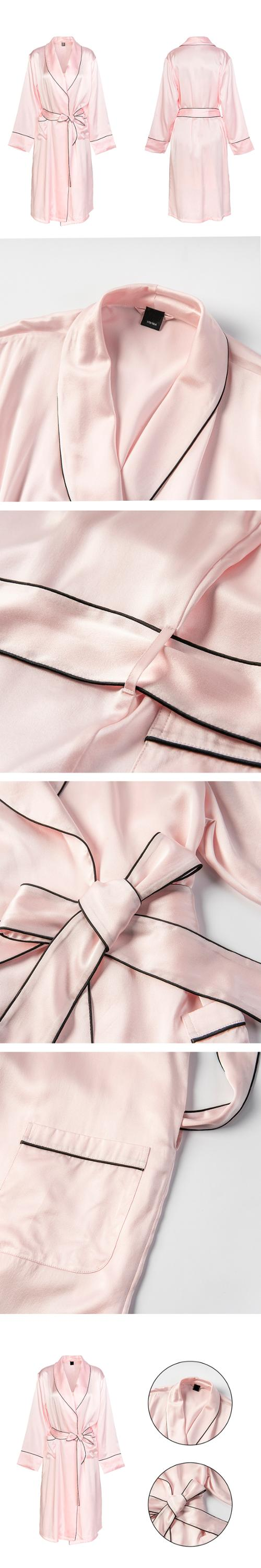 Retail Long Sleeve Pink Night Dress Satin Sleepwear Sexy Pajamas Luxury Silk Robe pyjamas women sleepwear