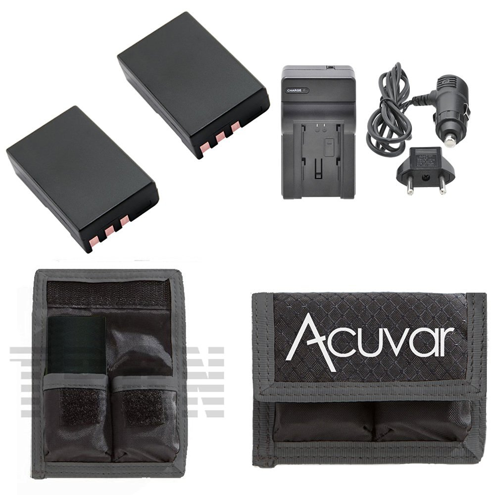 2 EN-EL9 Batteries for Nikon + Car / Home Charger + Acuvar Battery Pouch for Nikon D40, D60, D40X, D3000, and D5000 Camera and Other Models…