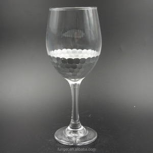 White Gold Carving and foil sticking silver stocked ecofriendly wholesale Machine blown red Wine glass