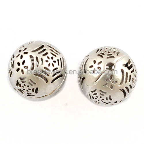 Hot Unique Design Rhodium Plated Hollow Engraved Beads for Make Necklaces
