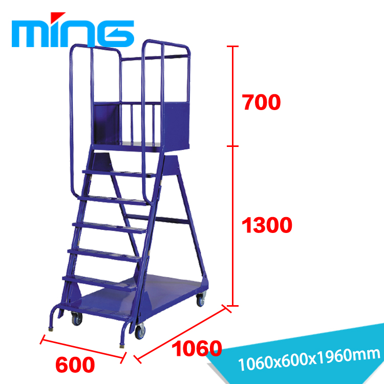Ordinaire Warehouse Supermarket Truck Moveable Stairs Steel Safety Rolling Mobile  Platform Ladder Cart   Buy Ladder Cart,Platform Ladder,Ladder Truck Product  On ...