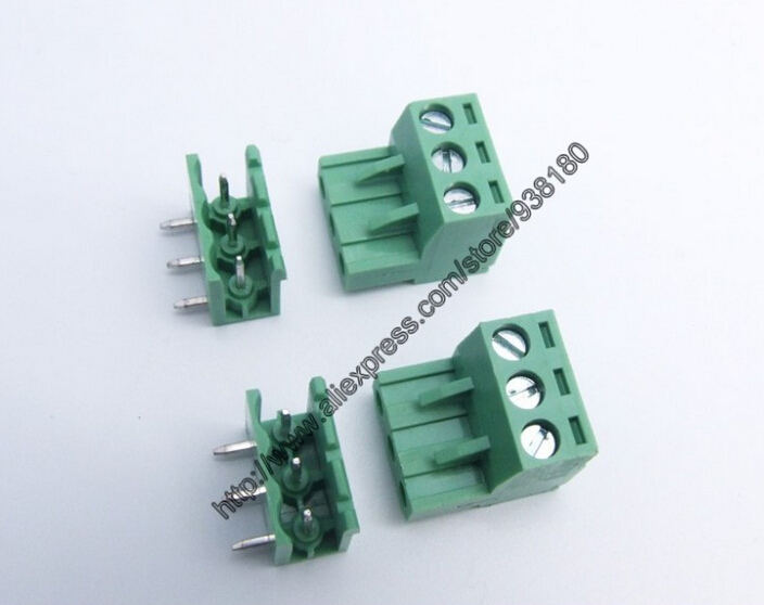 100 sets Pitch5.08mm 3Pins PCB Electrical Screw Terminal Block Connector wire terminals right angle pin male&female