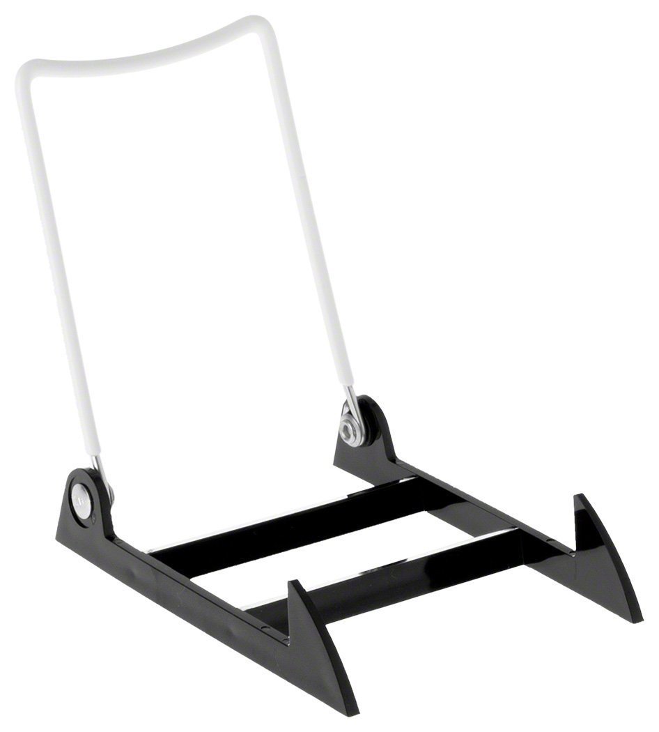 "1 Gibson Holders 3PLBW Adjustable Wire & Acrylic Easel - 4"" W x 5.5"" H with 4.5"" ledge, White/Black"