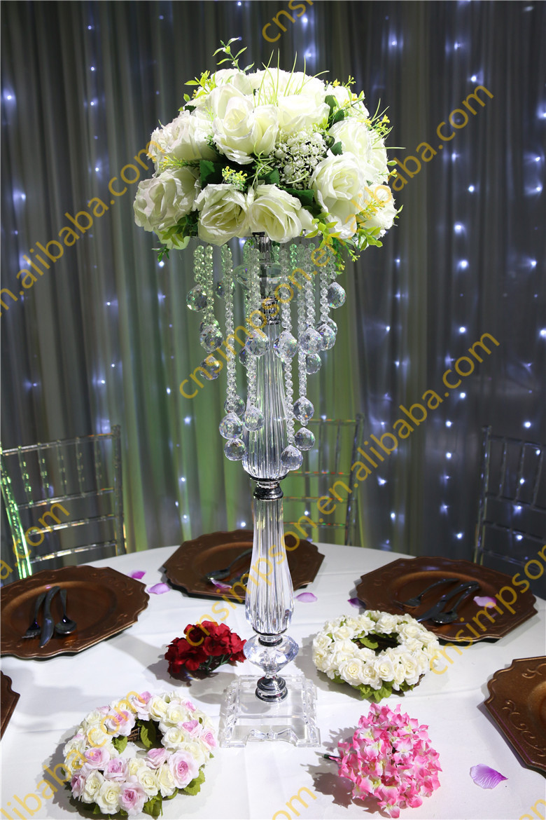 Acrylic beaded table top chandelier centerpieces flower for Buy wedding centerpieces