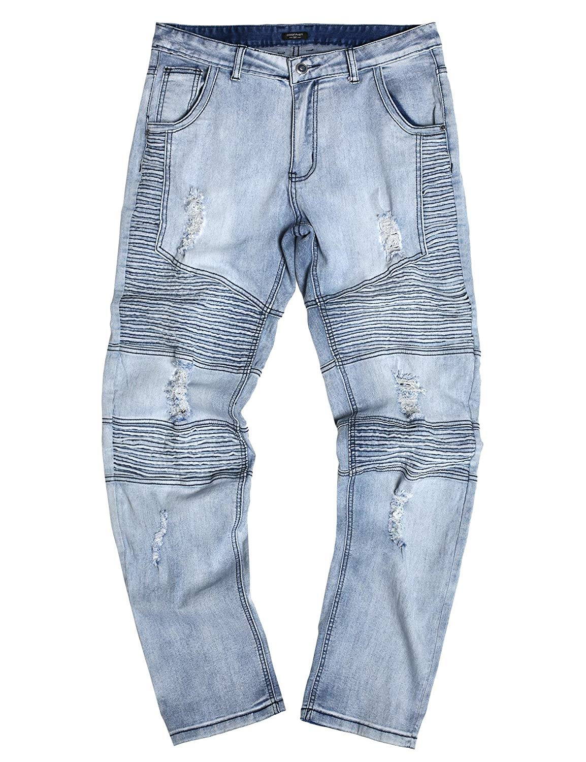 cee01458aa7 Get Quotations · carsget Distressed Destroyed Straight Jeans with Holes Slim  Zipper Biker Jeans Men Ripped Jeans chaep Men