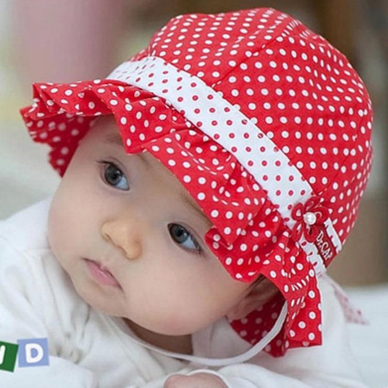 Kids Toddlers Baby Girls Sun Hat Polka Dot Flower Bucket ...