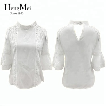 09adafa0f84a6c back neck cut out white woman lace design bell sleeve cotton blouse