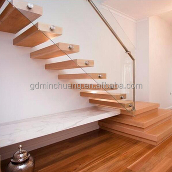 Invisible Steel Stringer Floating Stairs Modern Design Oak Staircase