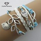 Promotional European and American owls 8 words Leaves Multi-layer Braise Leather rope Leaf Bracelet