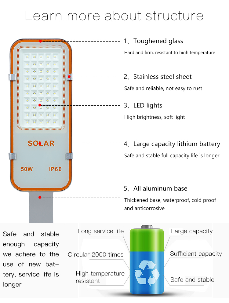 High efficiency security ip66 outdoor garden  24w 50w 70w 100w solar led street light