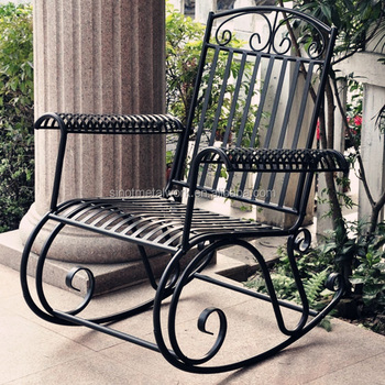 Outdoor Patio Furniture Decorative Wrought Iron Garden Rocking Chair