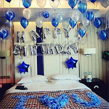 Silver/gold Letter Balloons Happy Birthday Aluminum Foil