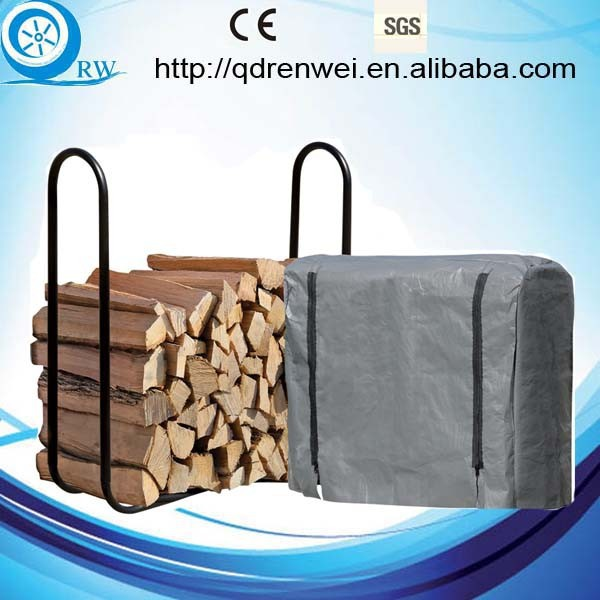 black metal Firewood Rack and cover 1/4-Cord Capacity
