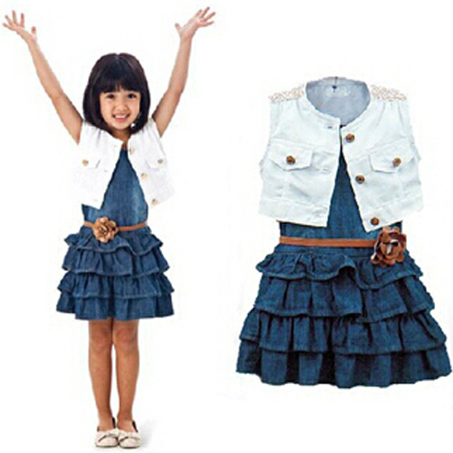 DOZ194 New baby girl`s two-piece sets Children's clothing female child white vest denim skirt summer sleeveless suit retail