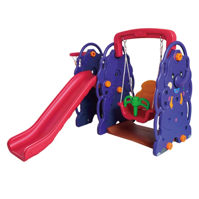 New Outdoor Playground Style Indoor Play Set 3 Functions in 1 Basketball Slide with Single Toddler Swing QC-05014