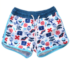New design boys polyester printing quick dry swim trunks waterproof beachwear with drawcord