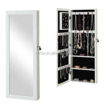 Jewelry Box Chest Organizer Armoire Cabinet Storage Mirror Door Wall Mount  White