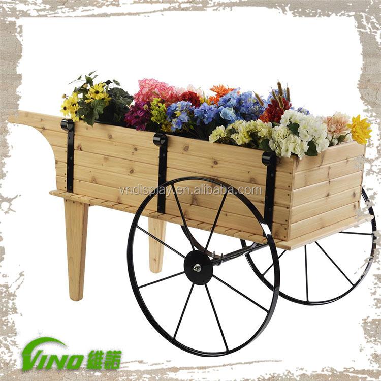Jard n display flores planta carro de madera z calo for Carritos de madera para jardin