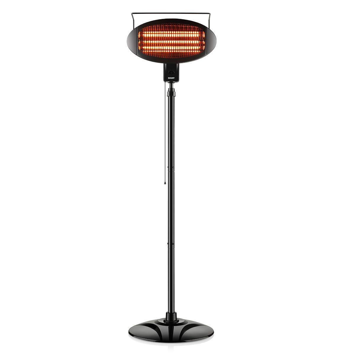 SURJUNY Patio Heater, Electric Heater with 3 Power Levels, Halogen Space Heater for Indoor/Outdoor Use, Waterproof, D01