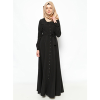 Zakiyyah 9044 New Pakistan Models Abaya in Dubai Black Abaya Dubai with Button Islamic Clothing Wholesale China