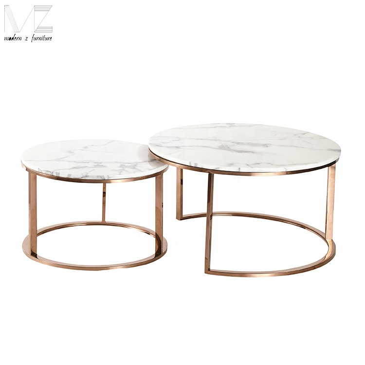 Awesome Modern Gold Stainless Steel Base Round Artificial Marble Top Nesting Coffee Table Set Buy Artificial Marble Coffee Table Marble Top Stainless Steel Pdpeps Interior Chair Design Pdpepsorg