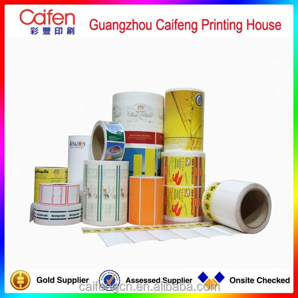 Guangzhou customized bottle packaging label PVC plastic sticker in roll