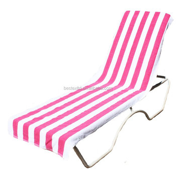 Beautiful Large Pink Terry Cloth Stripe Beach Towels Chair Cover