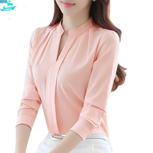 HFS1258B Korean Fashion V Neck Long Sleeve Elegant Office Ladies Wear Chiffon Blouses