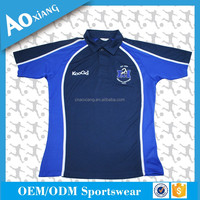Guangzhou clothing factory 100% polyester sport shirt blue and orange ladies golf clothing