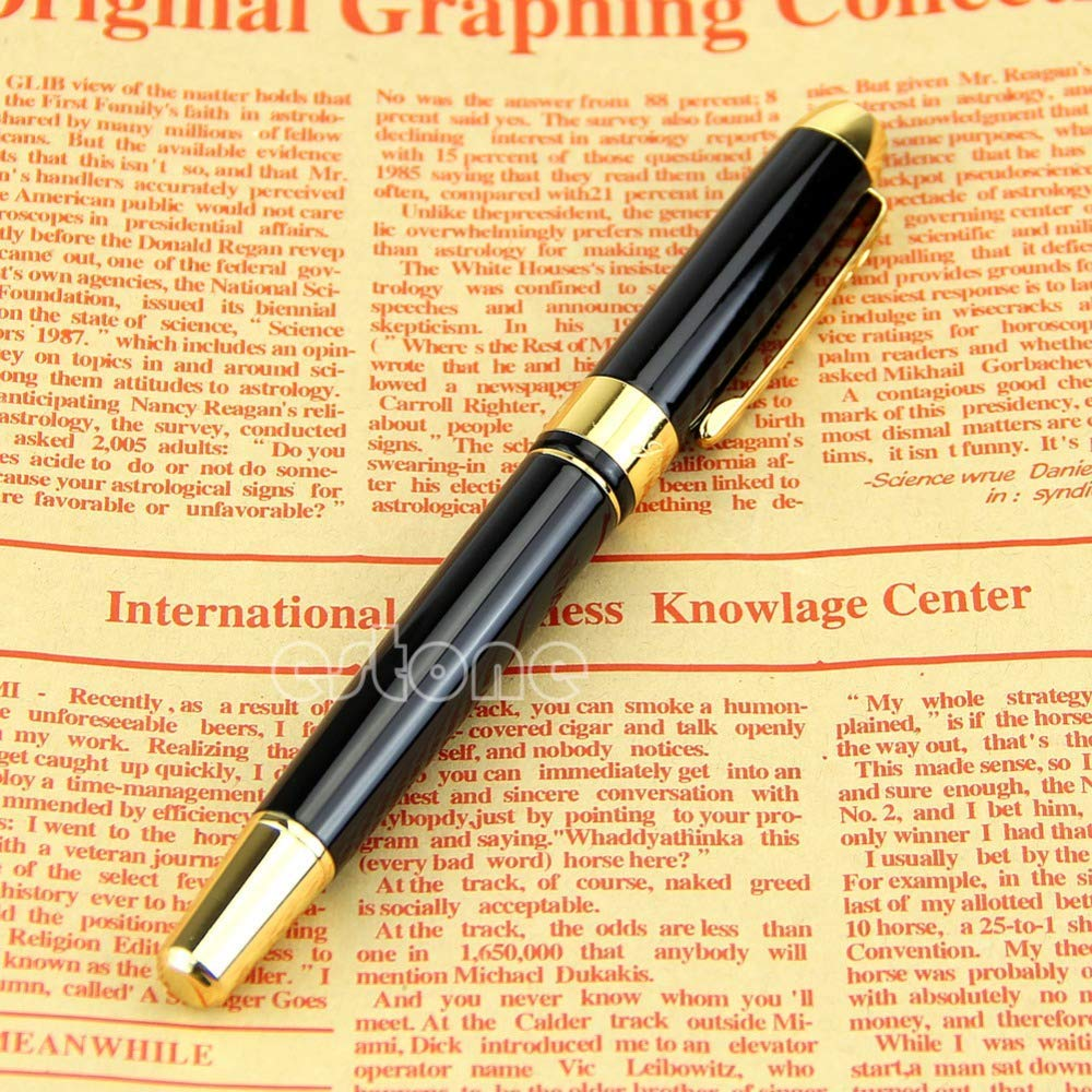 AZSNOW Jinhao 250 Black and Gold M Nib Fountain Pen Thick D14