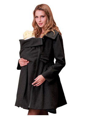 China Supplier Fashion Mama Coat With Baby Pouch, Modern Maternity Clothes