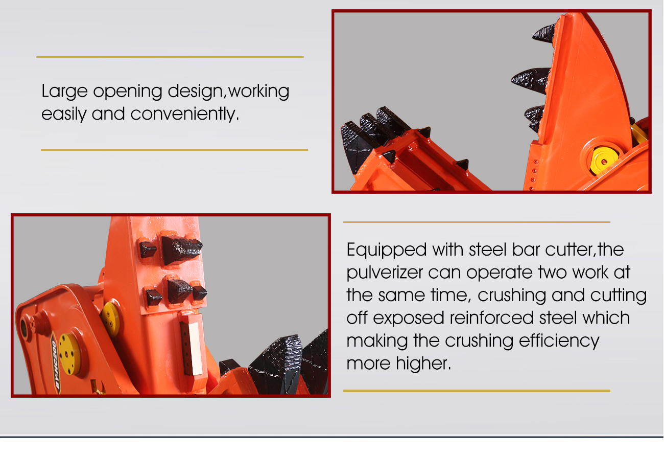 Secondary pulverizer hydraulic rotating pulverizer used in concrete crusher excavator