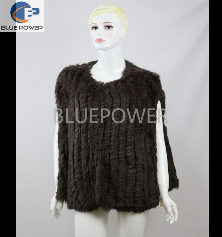 Inventory knitted real rabbit fur brown color women winter vest with o collar TD1936