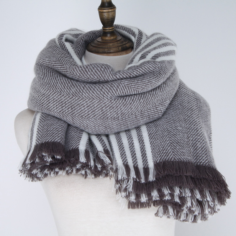 Super large And Thick Shawl 100% Acrylic Stripe Woven Winter Scarf