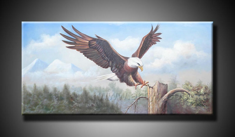 Handpaint Traditional animal canvas wall art painting eagle