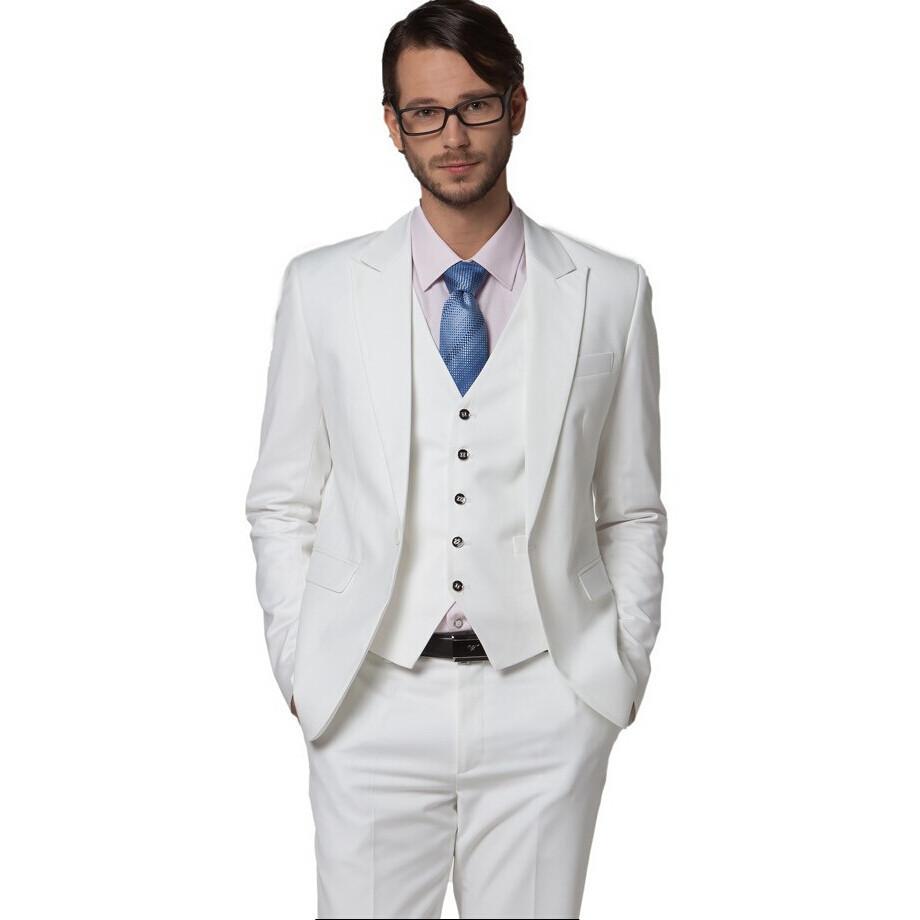 Buy Wholesale Men's clothing slim suit white wedding suits ...