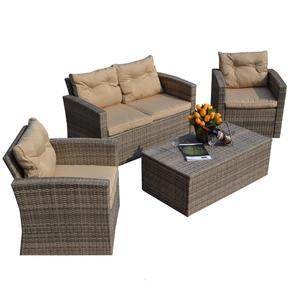 Hot Selling 4PCS Wicker Patio Poly Import Rattan Garden Casual Furniture Sofa Set