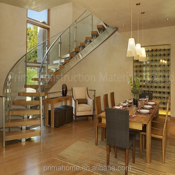 Interior Wood Stairs Curved Steel Stair Stringer Open Riser Scaffold Curved  Staircase