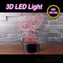OEM Project Sweet Double Love Heart 3D Illusion LED Table Night Light Stand Lamps For Wedding/Bedroom Decor