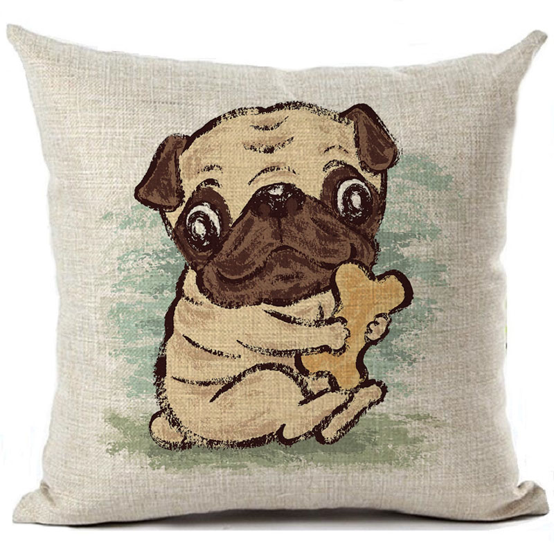 Cushion Cover Pugs Dog Printed Linen Throw Pillow Case Cartoon Illustration Pillows Cover Car Sofa Home Decorative Pillowcase Cushion Cover Cushion Cover Pugthrow Pillow Cases Aliexpress