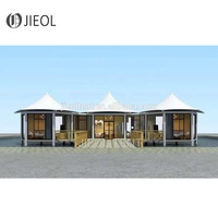 Resort hotel tent for Tourist lodging, Architecture membrane steel structure