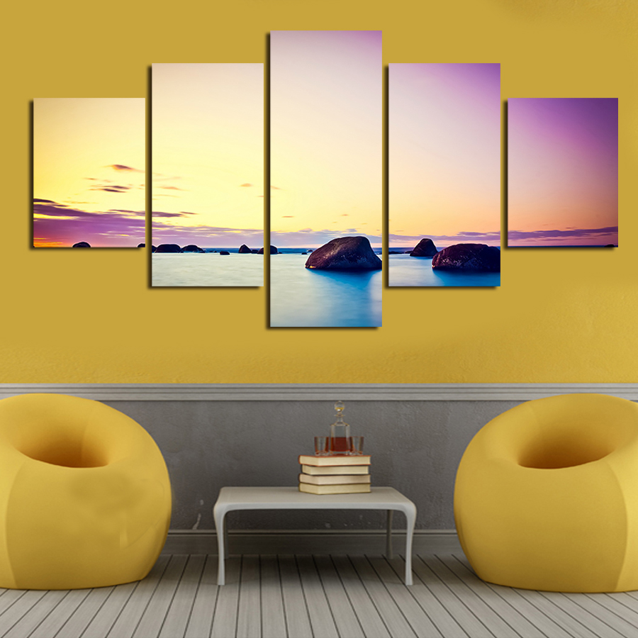 2016 new 5 piece big size colorful sky wall art modern picture set on canvas painting printed. Black Bedroom Furniture Sets. Home Design Ideas