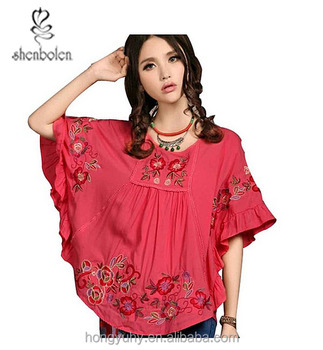 2e6a616a026a44 M40644 charming sleeve V-neck Mexican Lady Shirt with beautiful flowers  embroidered