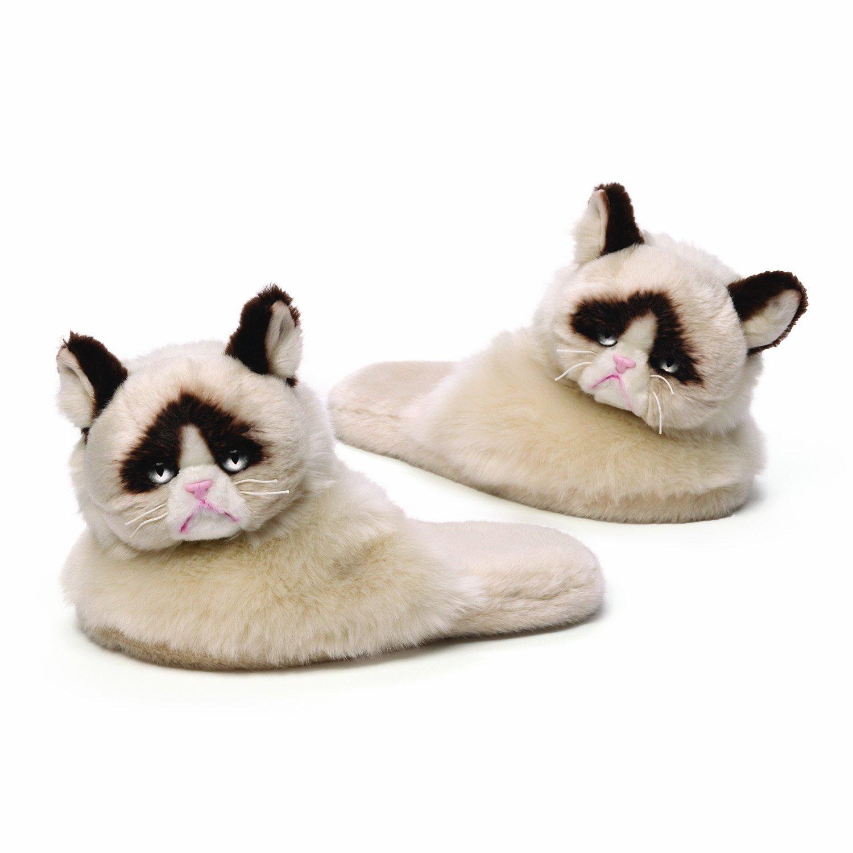 GUND Grumpy Cat Plush Slippers, Adult Size